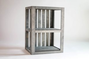 End Table/Nightstand Wood Crate Antique Gray Stained