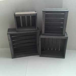 Antique Gray Stained- Rustic Wood Crates- Set of 4