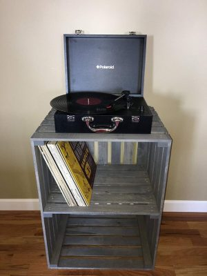 Antique Gray Stained- Turntable Stand