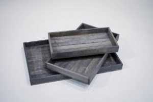 Antique Gray Stained Serving Trays- Set of 3