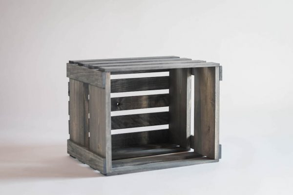 Antique Gray Vinyl Record Holder Wood Crate