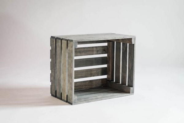 Antique Gray Stained Rustic Wood Crate