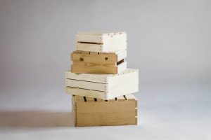 Natural Rustic Wood Crates – Set of 4
